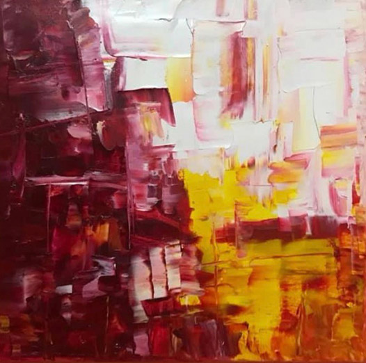 abstract painting red white yellow